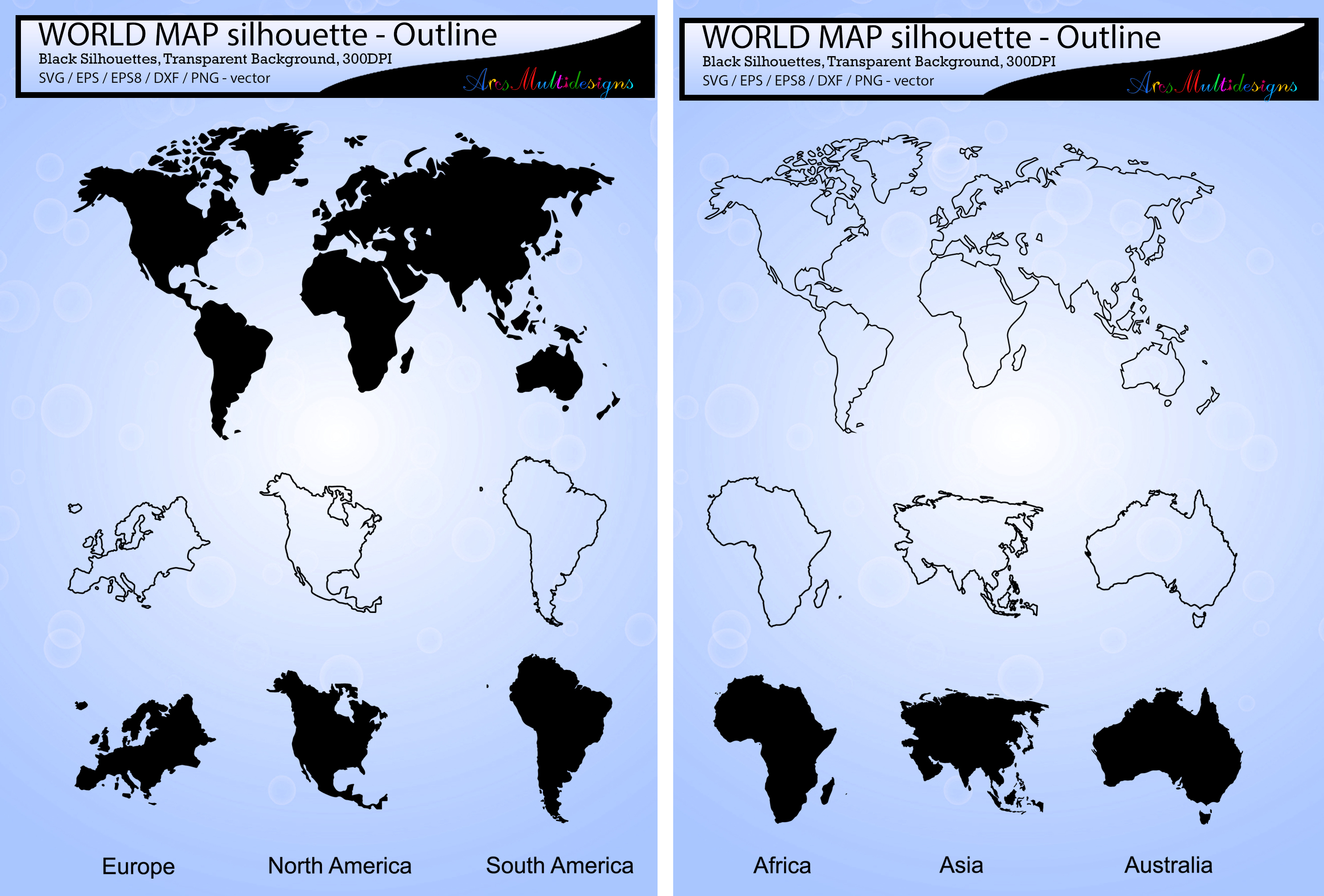 Print on Demand: World Map Silhouette SVG Vector Graphic Illustrations By Arcs Multidesigns - Image 1