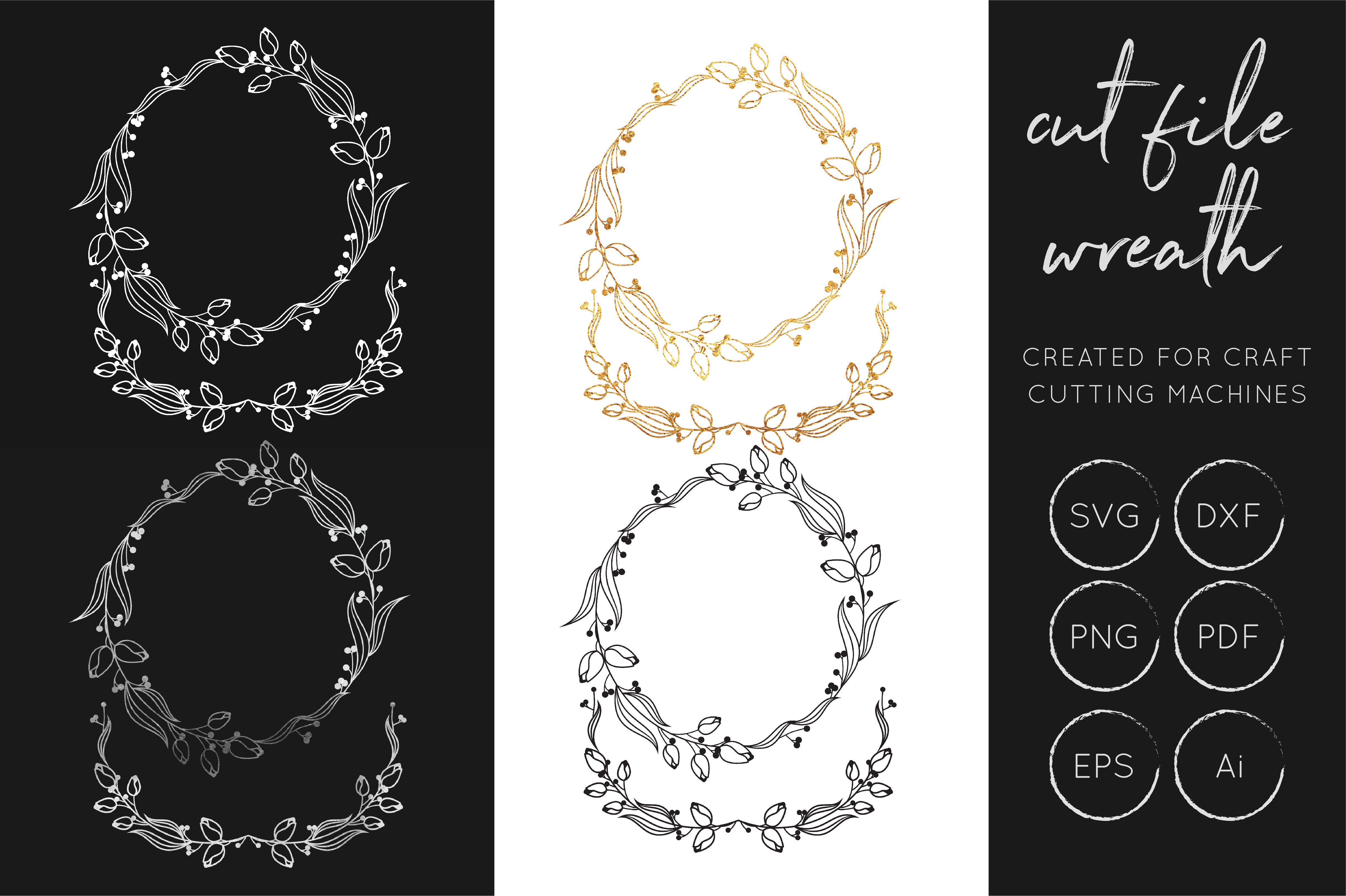 Download Free Wreath Laurel Gold Foil Silver Foil Graphic By Illuztrate for Cricut Explore, Silhouette and other cutting machines.