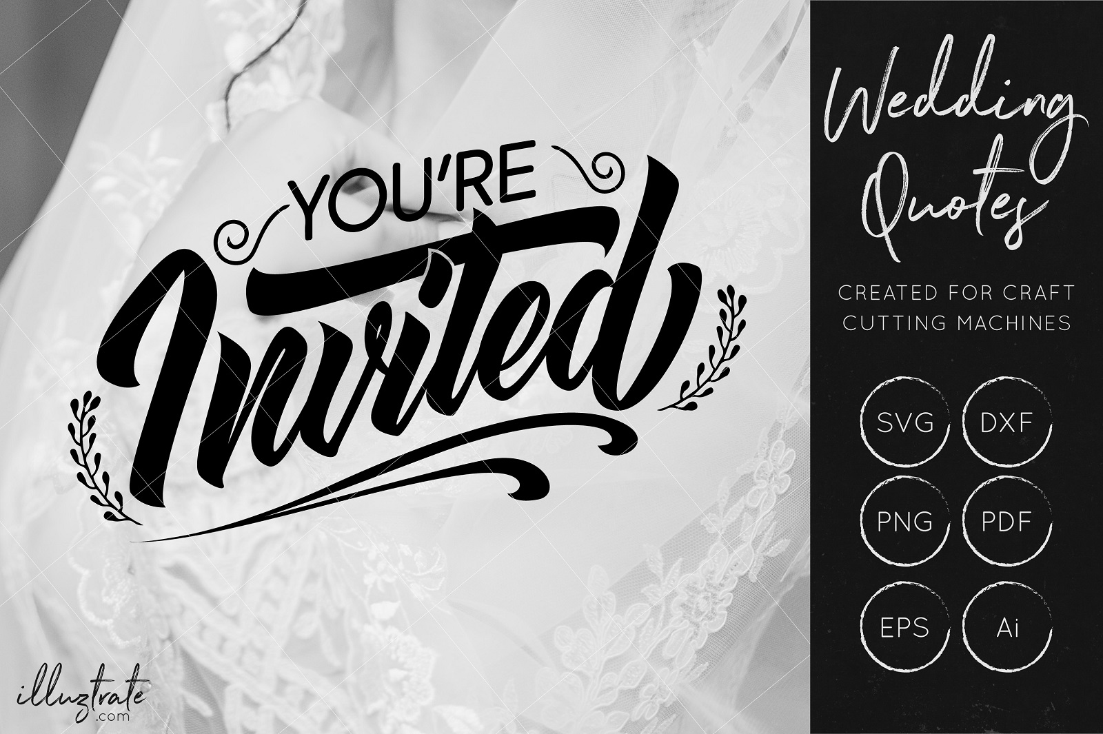 Download Free You Re Invited Cut File For Crafters Wedding Quote Graphic By Illuztrate Creative Fabrica for Cricut Explore, Silhouette and other cutting machines.