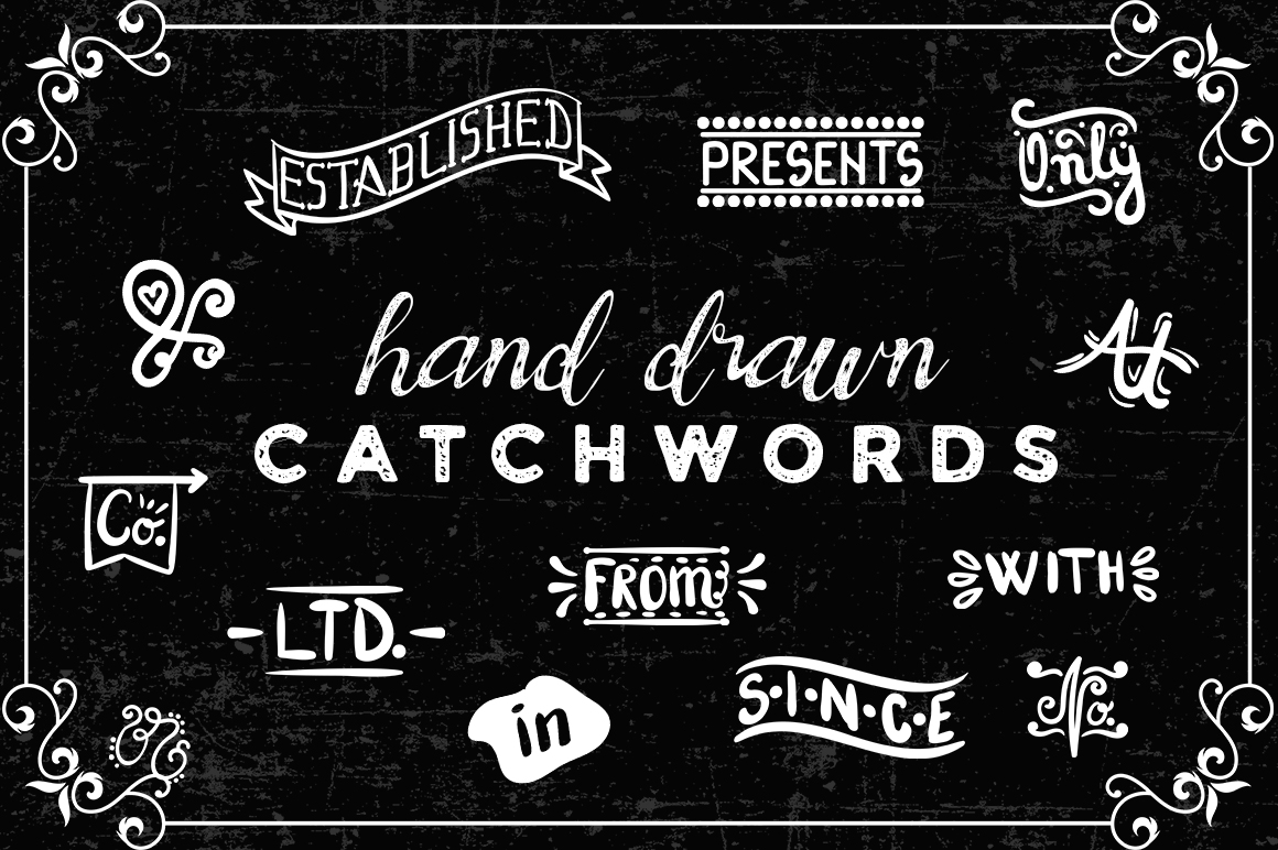 Download Free Set With 46 Hand Drawn Catch Words Svg Cut File By Creative for Cricut Explore, Silhouette and other cutting machines.
