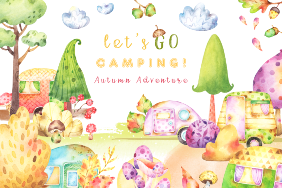 Print on Demand: Camping Autumn Adventure Watercolor Clipart Collection Graphic Illustrations By tatianatroian.art