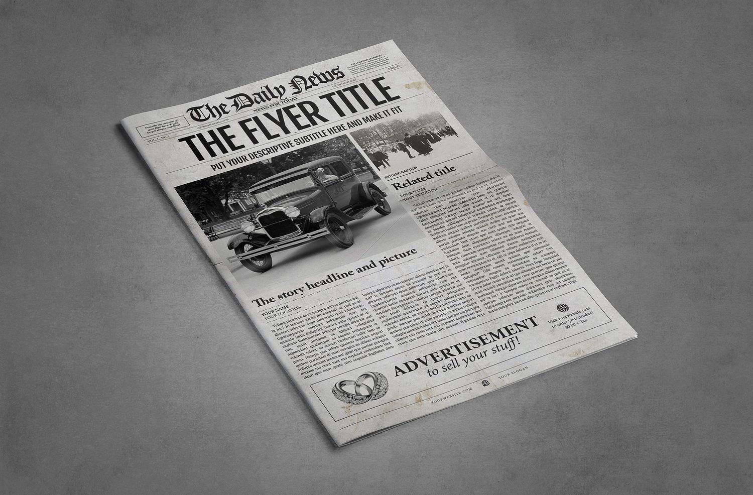 1 page newspaper template illustrator graphic by ted
