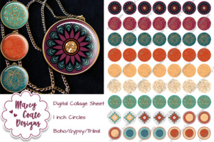 1 Inch Circles - Boho Paisley Graphic By MarcyCoateDesigns