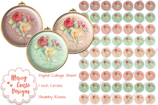 1 Inch Circles - Shabby Roses Graphic By MarcyCoateDesigns