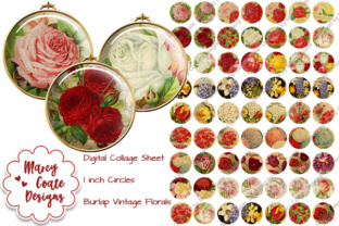 1 Inch Circles - Vintage Flowers Graphic By MarcyCoateDesigns