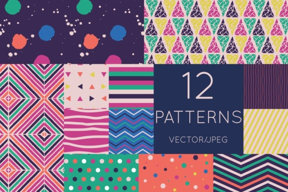 12 Geometric Vector Patterns Bright And Fun Digital Paper