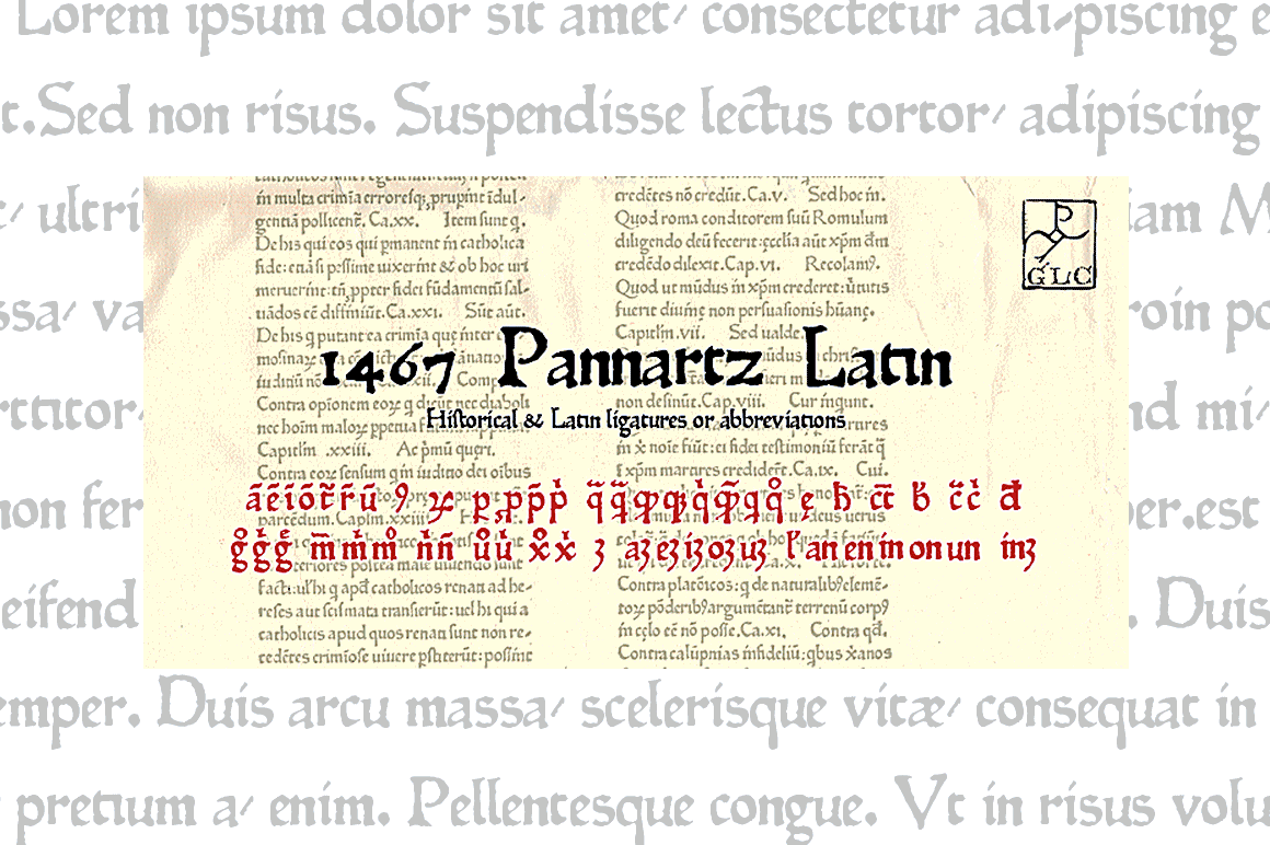 Print on Demand: 1467 Pannartz Latin Serif Font By GLC Foundry