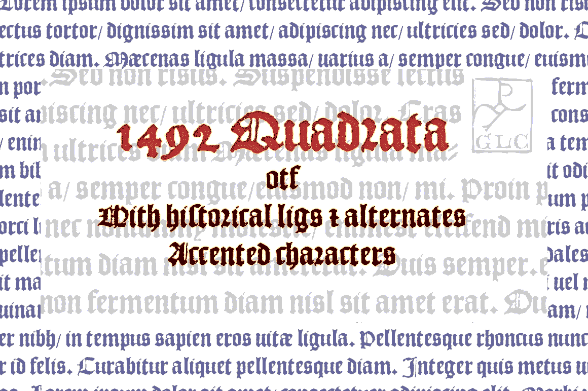 Print on Demand: 1492 Quandrata Blackletter Font By GLC Foundry