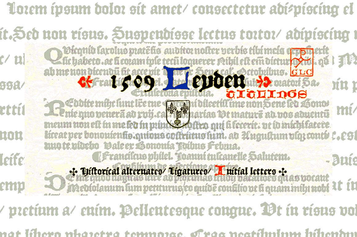 Print on Demand: 1509 Leyden Blackletter Font By GLC Foundry
