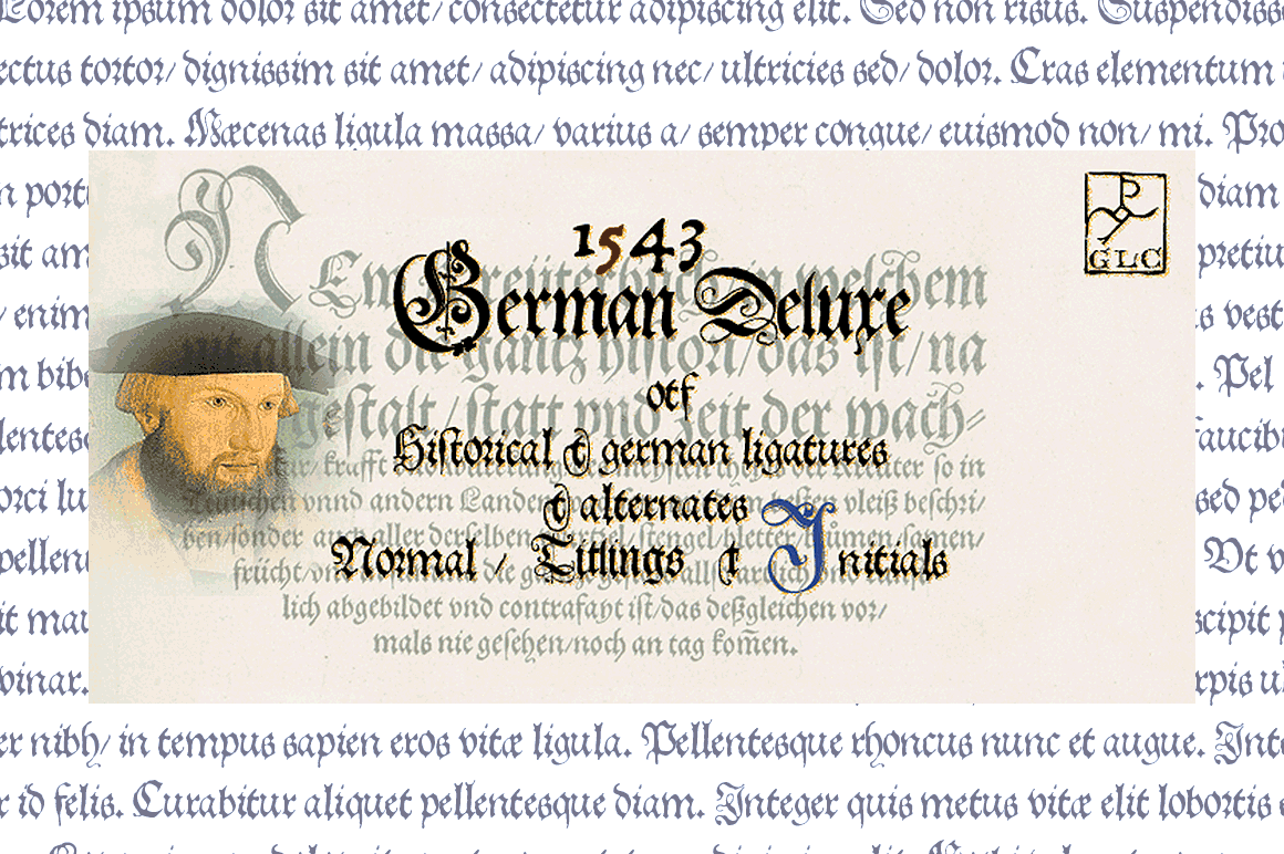Print on Demand: 1543 German Deluxe Family Blackletter Font By GLC Foundry