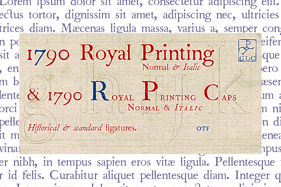 Print on Demand: 1790 Royal Printing Family Serif Font By GLC Foundry