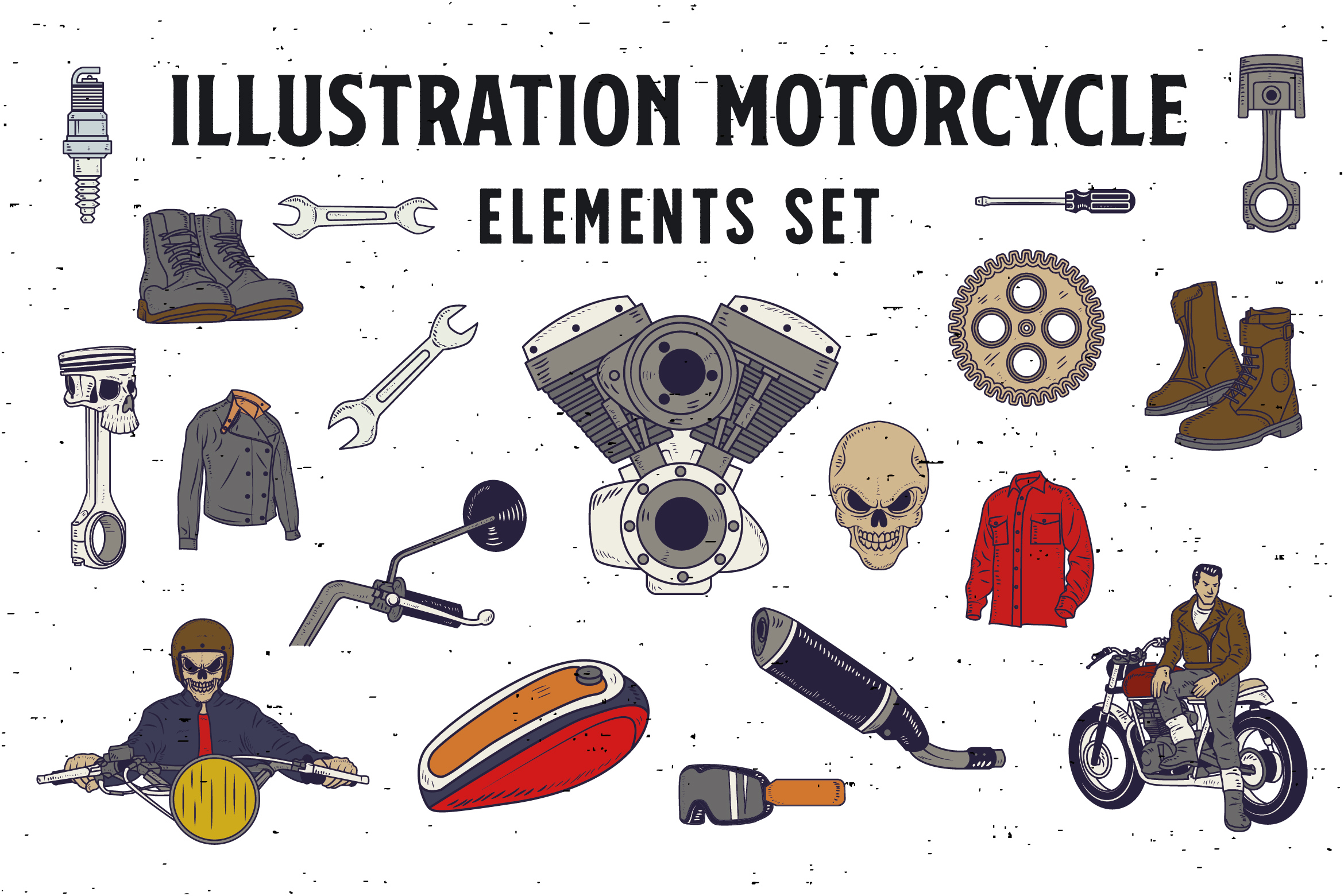 18 ILLUSTRATION MOTORCYCLE ELEMENTS Graphic Illustrations By storictype