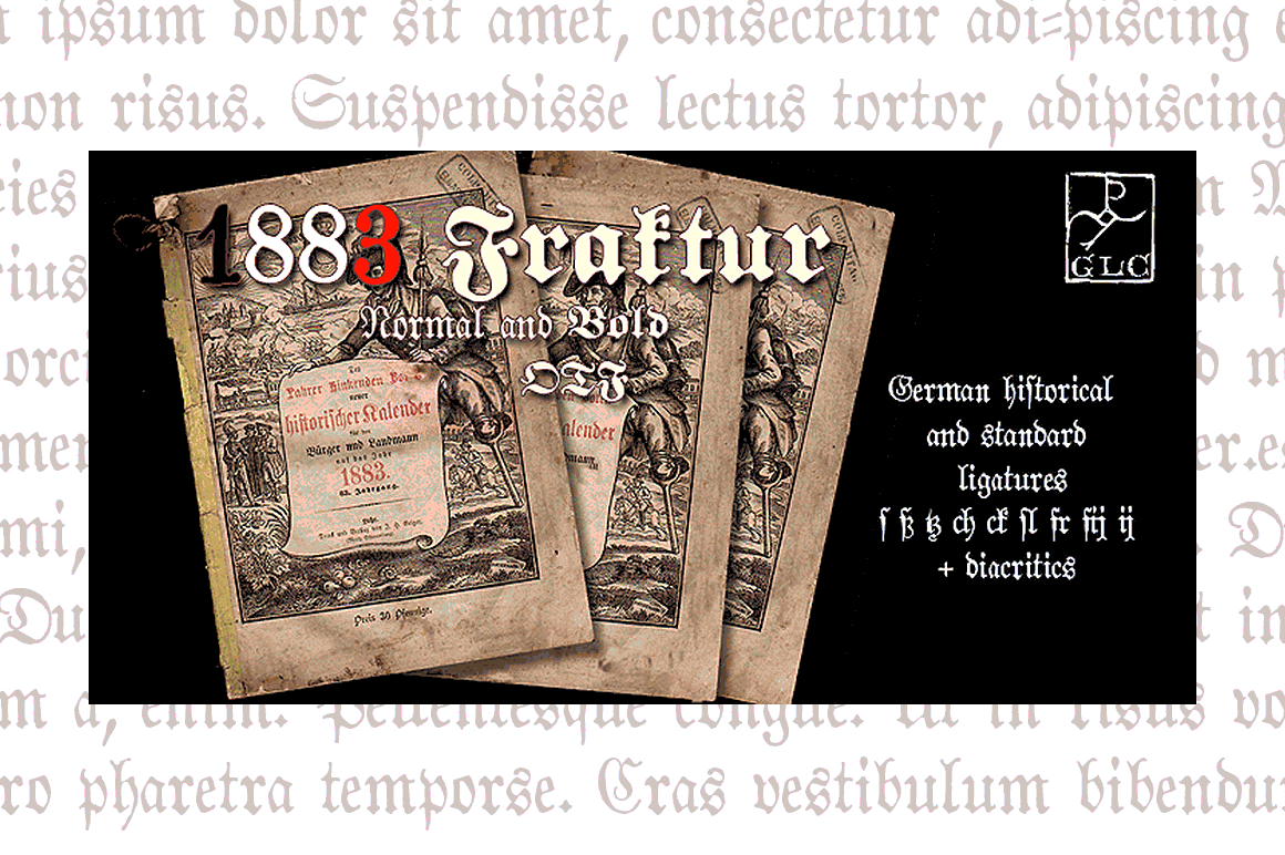 Print on Demand: 1883 Fraktur Blackletter Font By GLC Foundry
