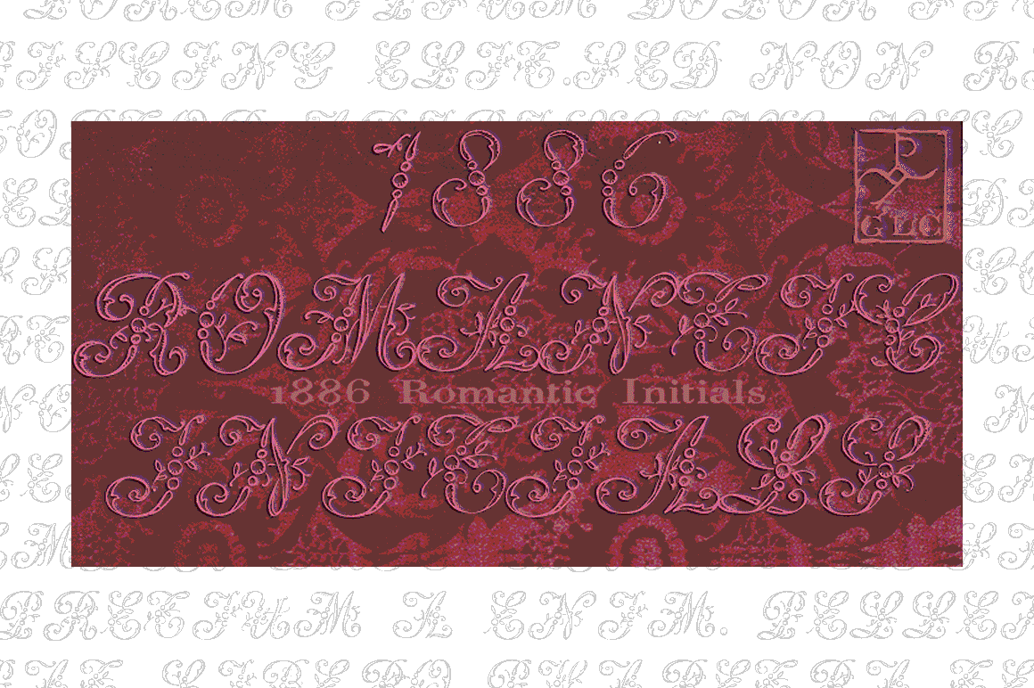 Print on Demand: 1886 Romantic Initials Decorativa Fuente Por GLC Foundry