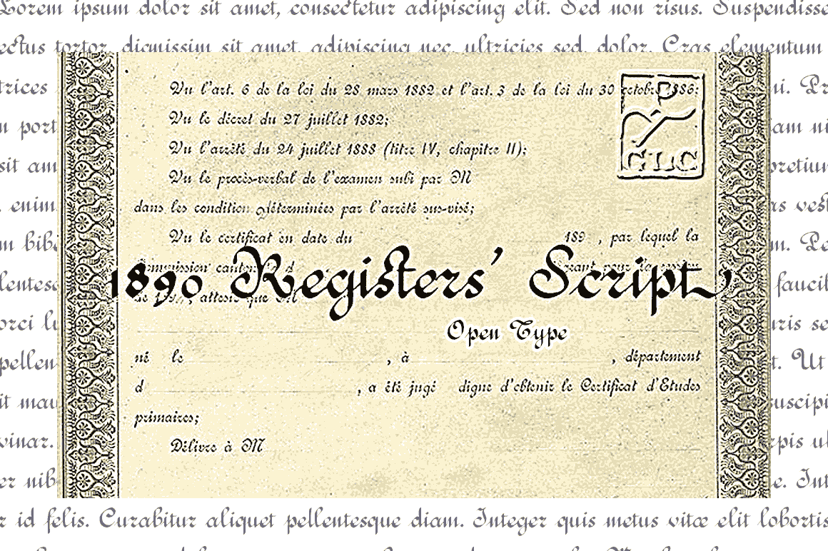 Print on Demand: 1890 Registers' Script Script & Handwritten Font By GLC Foundry - Image 1