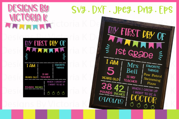 Download Free First Day Of School Chalkboard Style Svg Graphic By Designs By SVG Cut Files