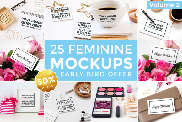 25 Feminine Mockups Graphic Product Mockups By brandsparkdesigns