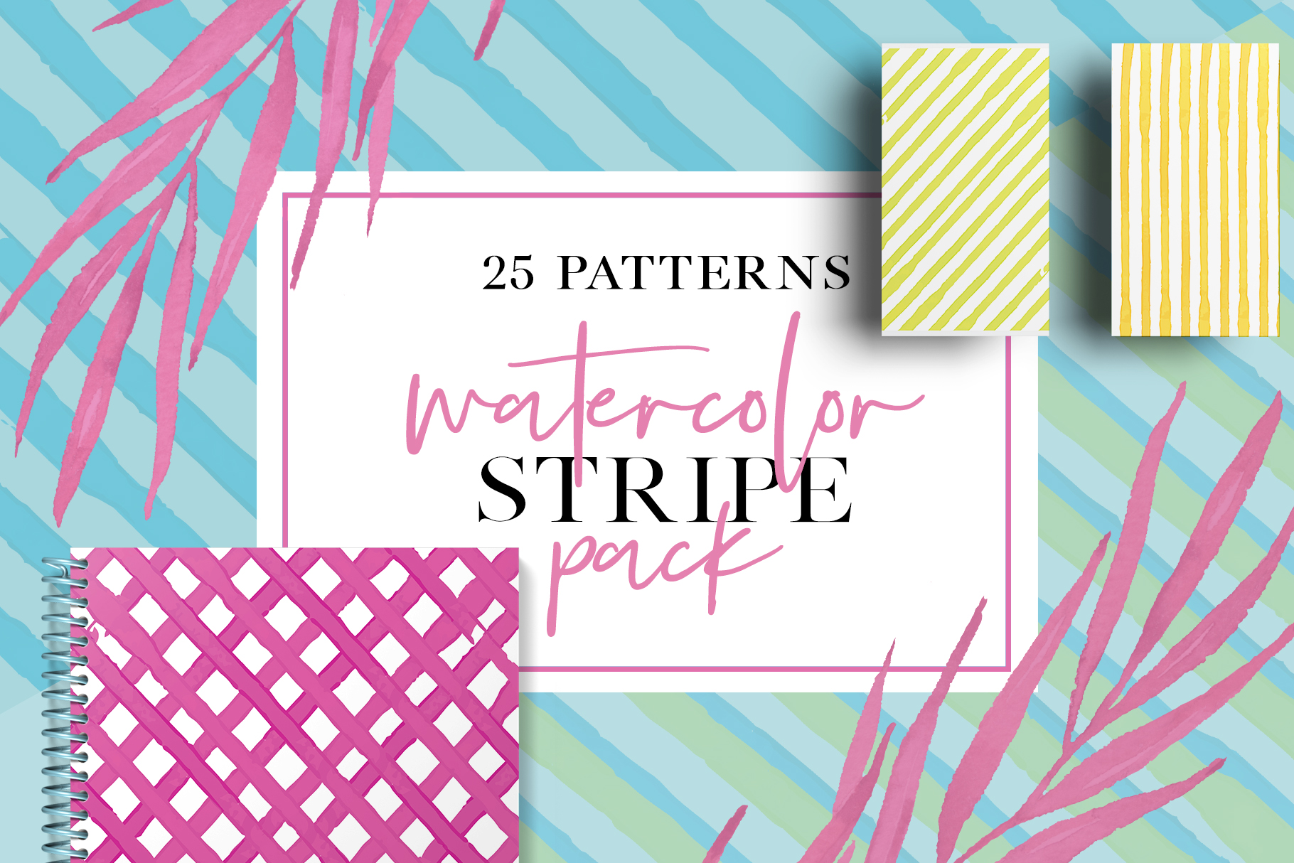 25 Watercolor Stripes Pack Graphic Patterns By Najla Qamber