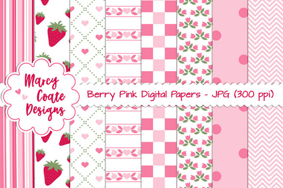 Berry Pink Backgrounds Graphic Patterns By MarcyCoateDesigns