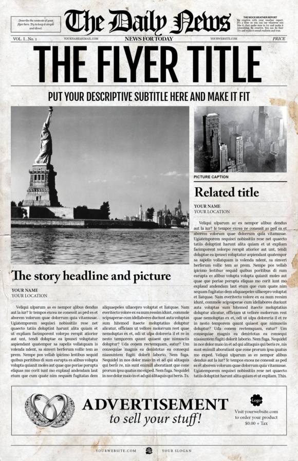 2 1 Page Newspaper Template Indesign Graphics