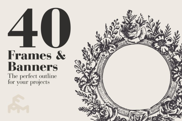 Print on Demand: 40 Frames & Banners Graphic Illustrations By pfmartini