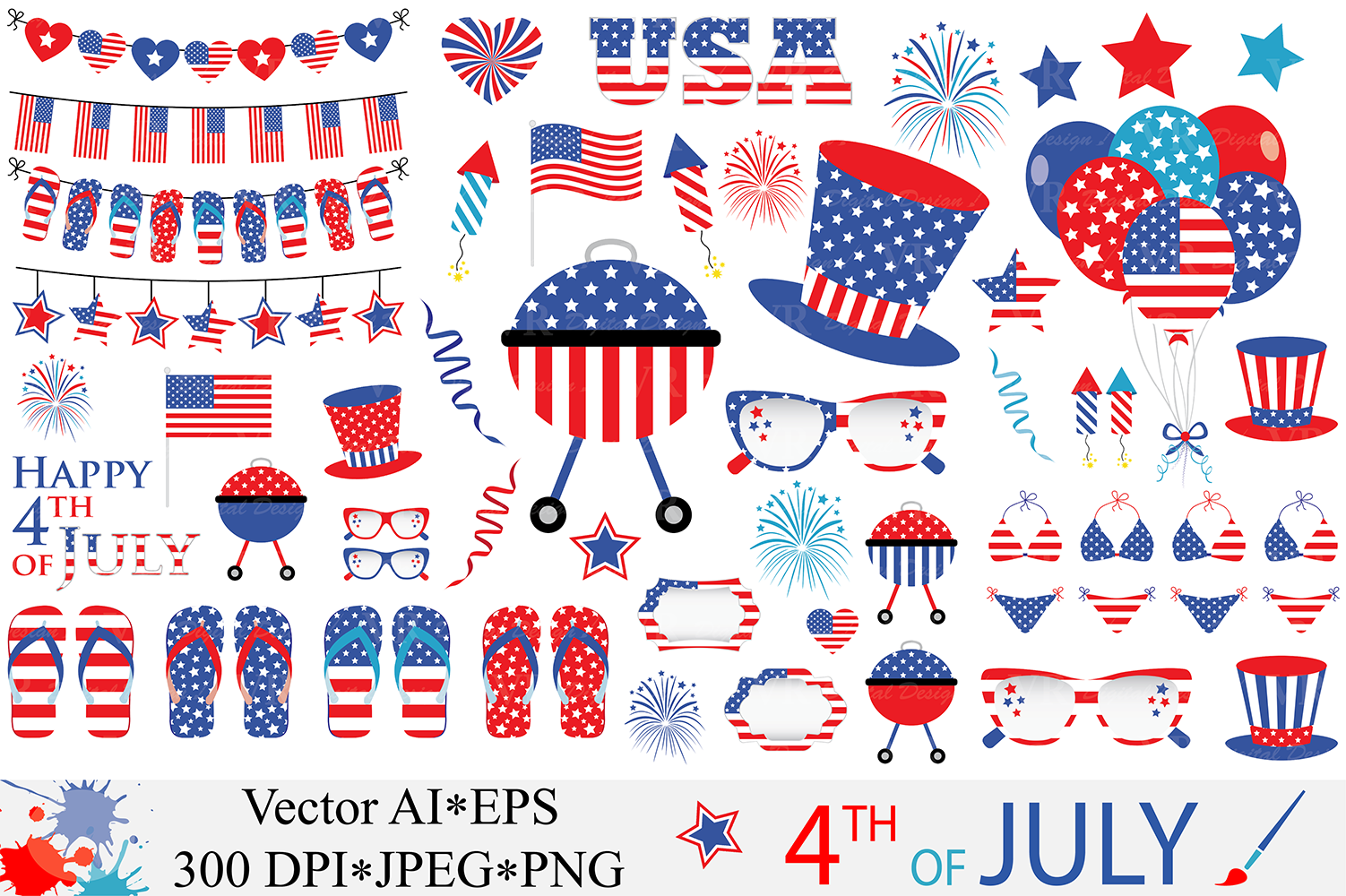 4th of July Clipart Graphic Illustrations By VR Digital Design