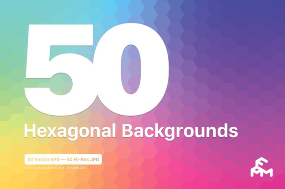 Print on Demand: 50 Hexagonal Backgrounds Graphic Backgrounds By pfmartini