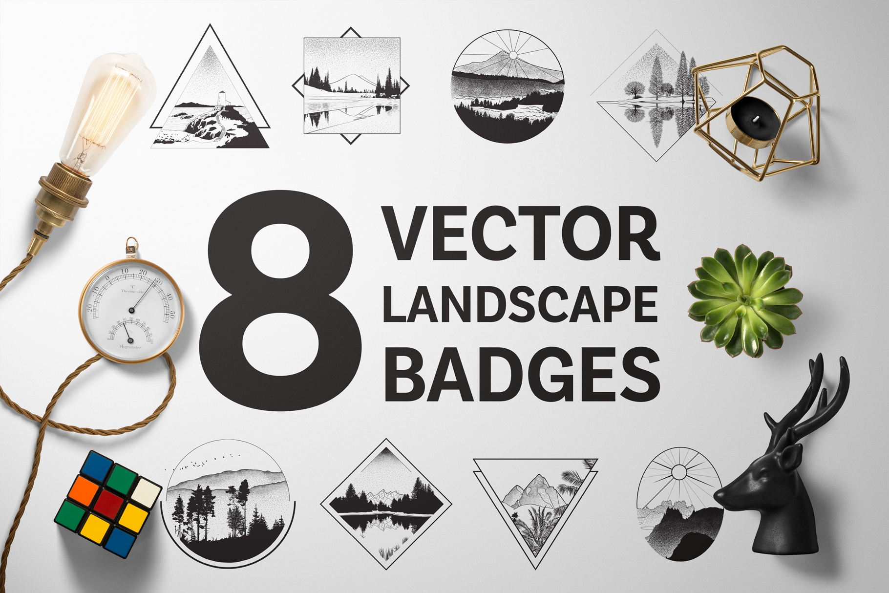 8 Vector Landscape Badges Graphic Illustrations By magofonts