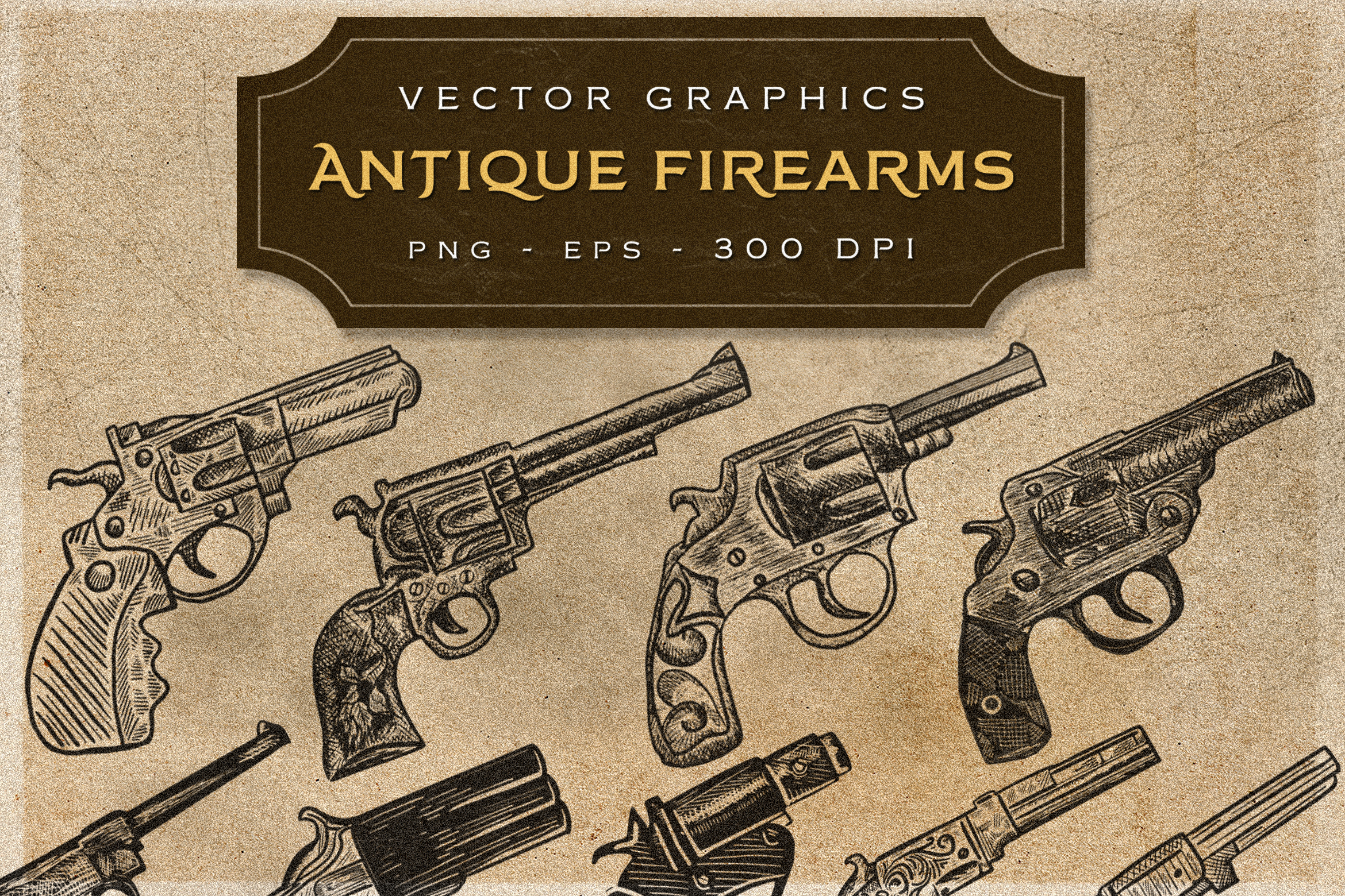 ANTIQUE FIREARMS - Vintage Graphics Graphic Illustrations By storictype