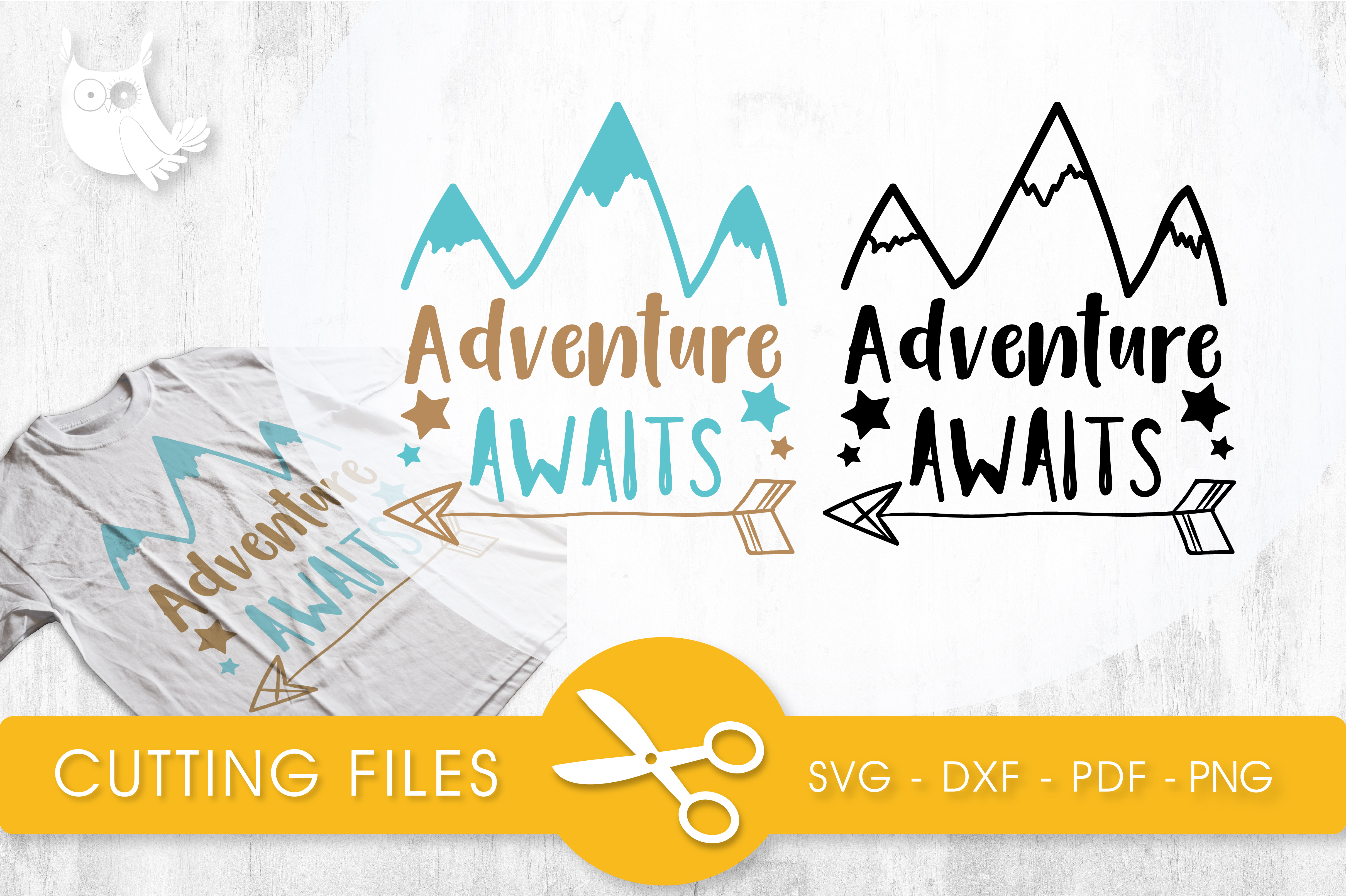 Download Free Adventure Awaits Graphic By Prettycuttables Creative Fabrica for Cricut Explore, Silhouette and other cutting machines.