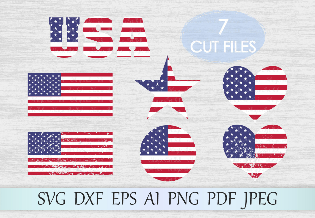 Download Free American Flag Graphic By Magicartlab Creative Fabrica for Cricut Explore, Silhouette and other cutting machines.