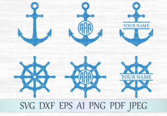 Download Free Anchor And Wheel Svg Sea Monograms Graphic By Magicartlab for Cricut Explore, Silhouette and other cutting machines.