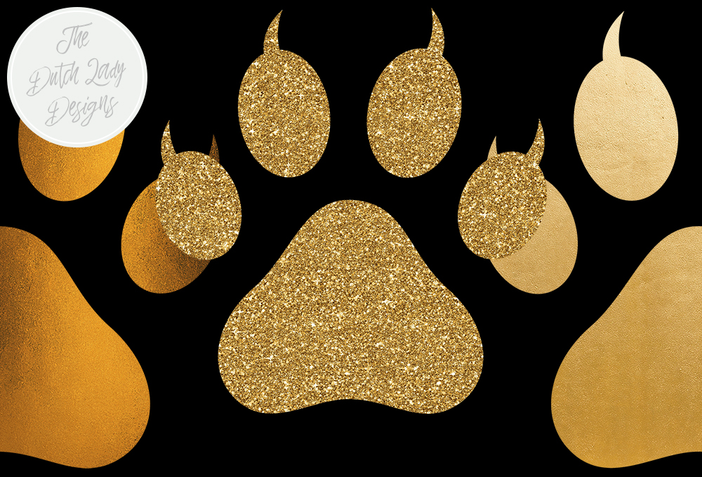Download Free Animal Paws Claws Clipart Set Gold And Glitter Animal Paw for Cricut Explore, Silhouette and other cutting machines.