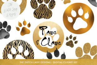 Animal Paws & Claws Clipart Set - Gold and Glitter Animal Paw Prints Graphic By daphnepopuliers