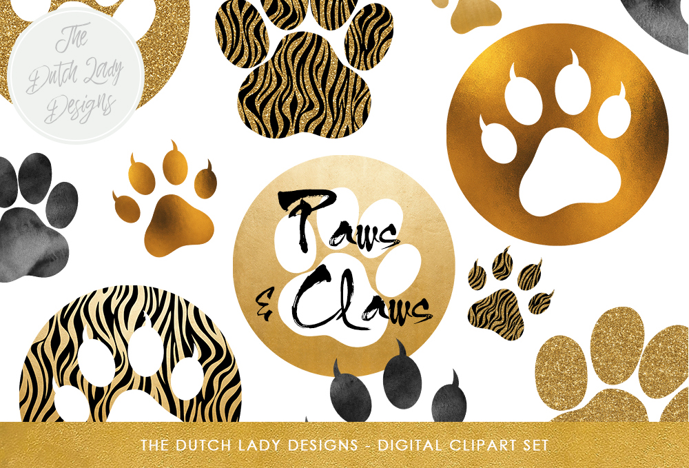 Print on Demand: Animal Paws & Claws Clipart Set - Gold and Glitter Animal Paw Prints Graphic Crafts By daphnepopuliers