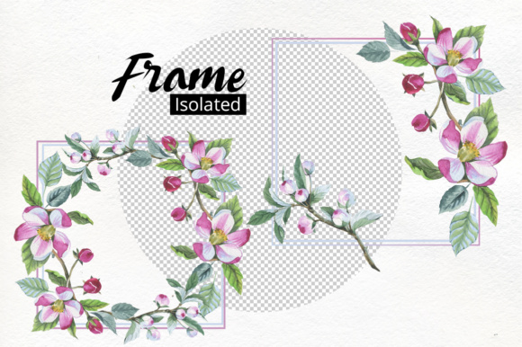 Apple Blossom PNG Flowers Watercolor Set