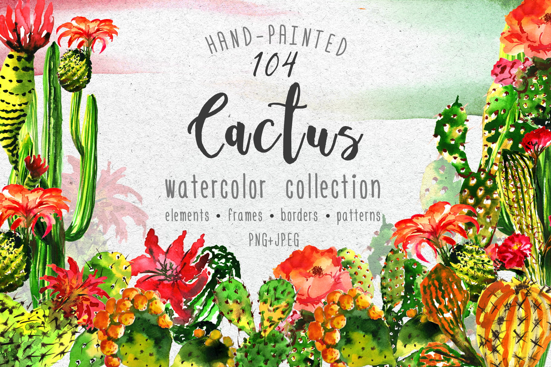 Download Free Aquarelle Green Cactus Set Graphic By Mystocks Creative Fabrica for Cricut Explore, Silhouette and other cutting machines.