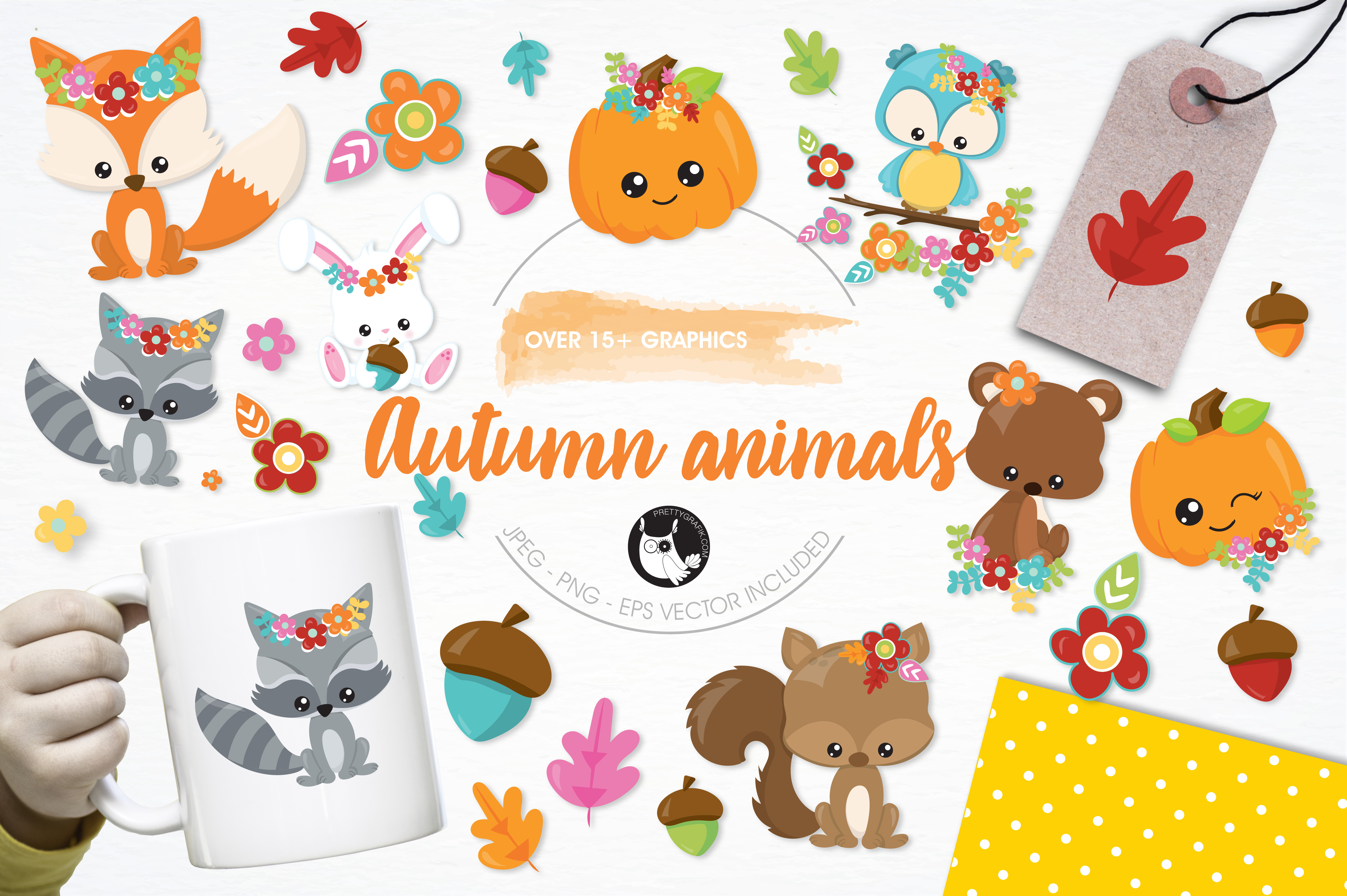 Download Free Autumn Animals Graphic By Prettygrafik Creative Fabrica for Cricut Explore, Silhouette and other cutting machines.