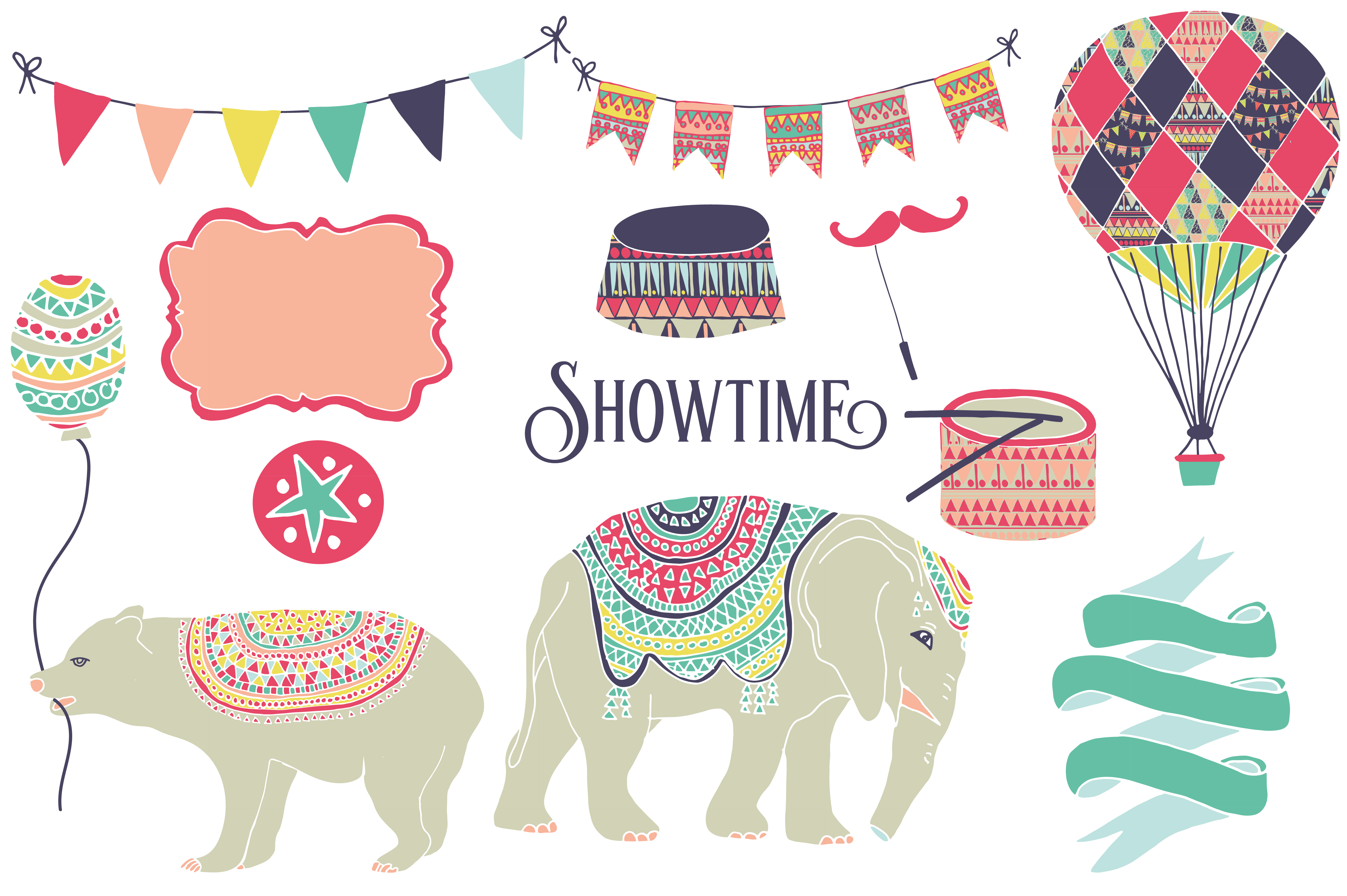 Print on Demand: Circus Clipart & Digital Paper Graphic Illustrations By illuztrate - Image 2