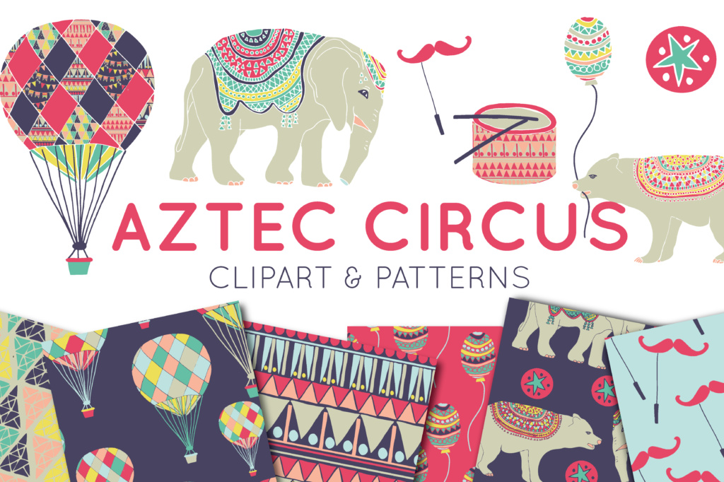 Download Free Circus Clipart Digital Paper Graphic By Illuztrate Creative Fabrica for Cricut Explore, Silhouette and other cutting machines.