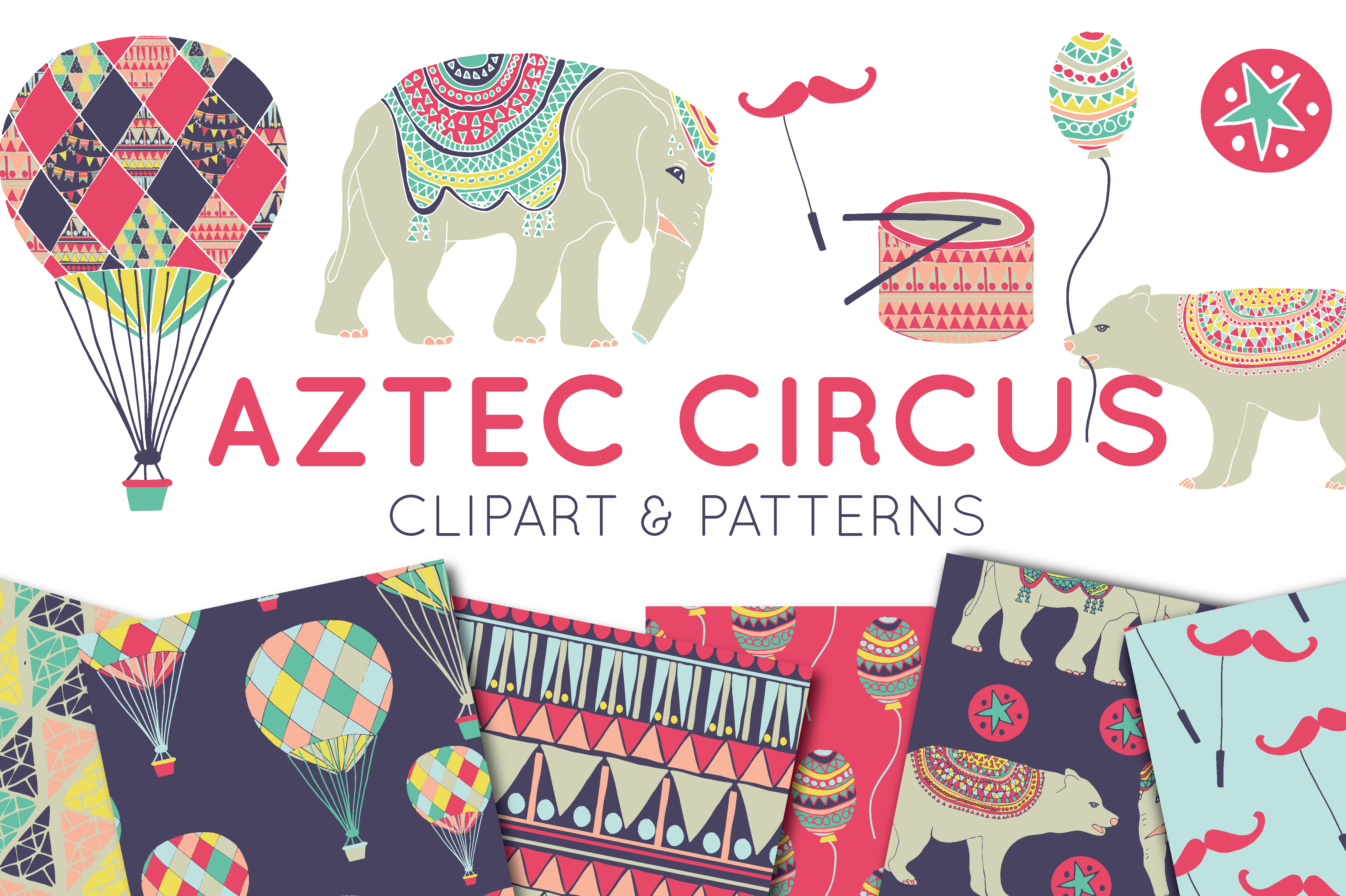 Print on Demand: Circus Clipart & Digital Paper Graphic Illustrations By illuztrate - Image 1