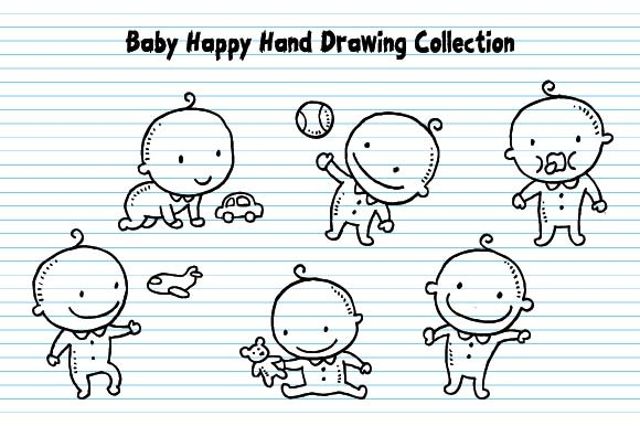 Baby Happy Expression Hand Drawing Graphic Illustrations By emnazar2009