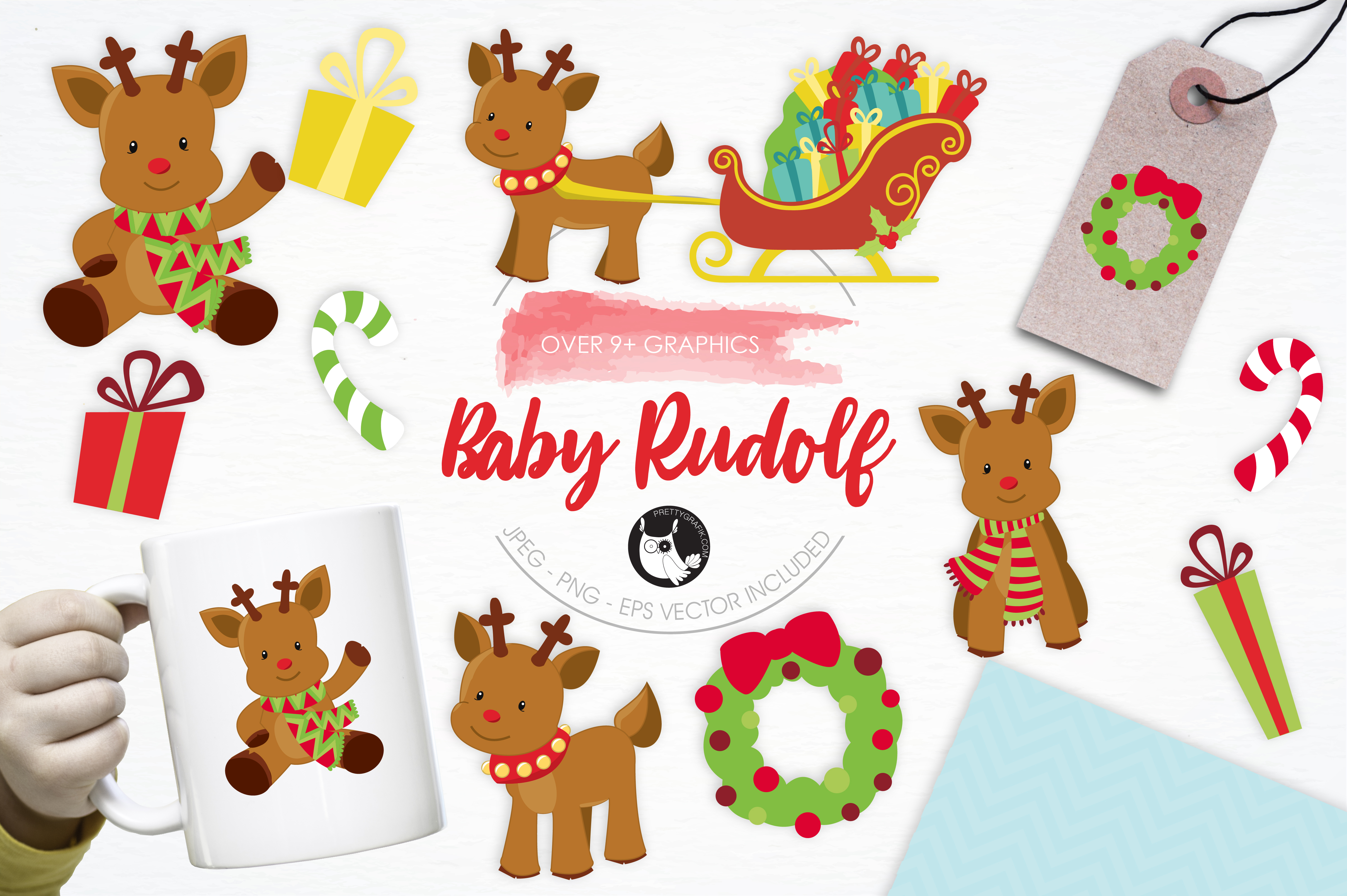 Download Free Baby Rudolf Graphic By Prettygrafik Creative Fabrica for Cricut Explore, Silhouette and other cutting machines.