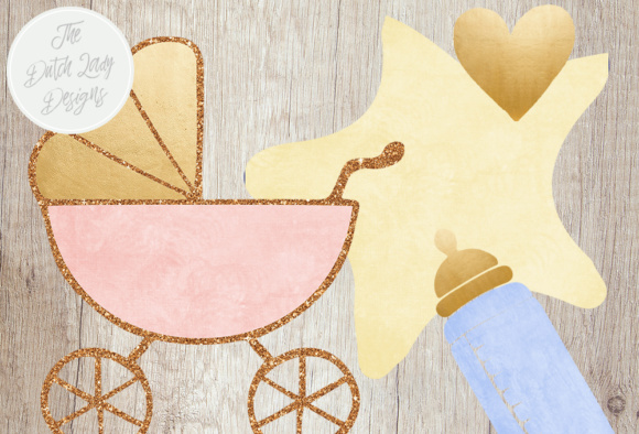 Baby Shower Clipart Set In Pink Blue Yellow Gold Toys Decorations Stuff And Text Images