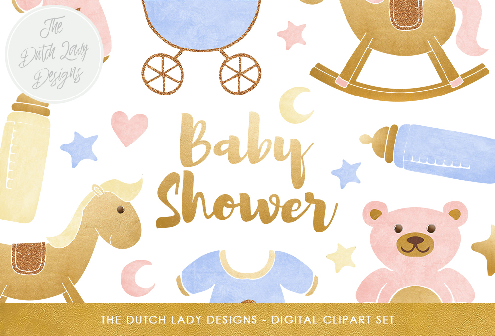 Download Free Baby Shower Clipart Set In Pink Blue Yellow Gold Toys for Cricut Explore, Silhouette and other cutting machines.
