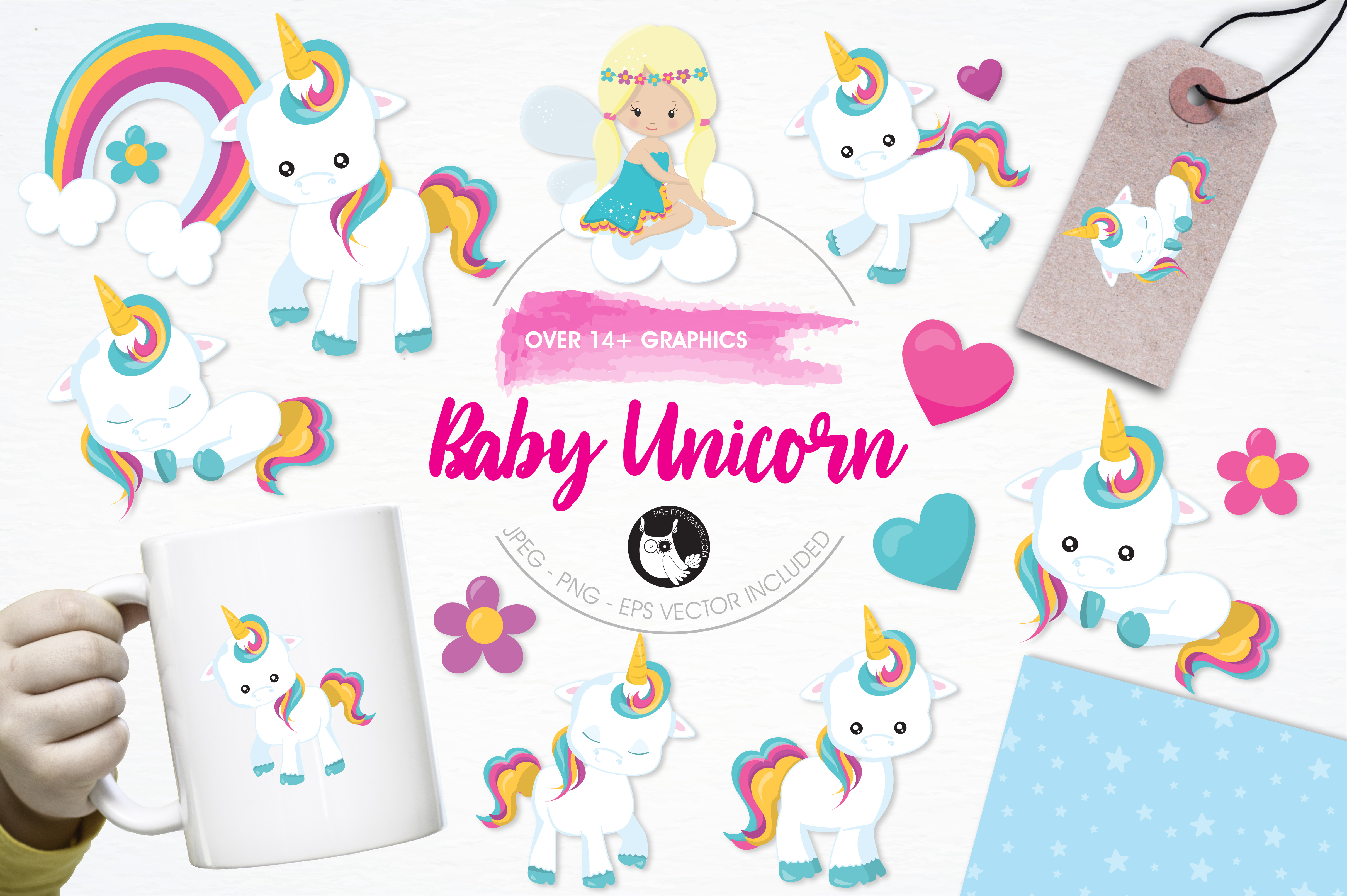 Print on Demand: Baby Unicorn Graphic Illustrations By Prettygrafik