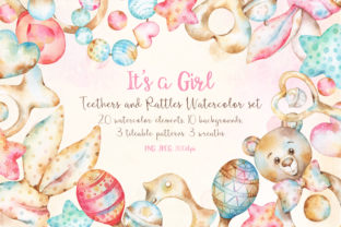 Download Free Baby Girl Teethers And Rattles Watercolor Clipart And Backgrounds for Cricut Explore, Silhouette and other cutting machines.