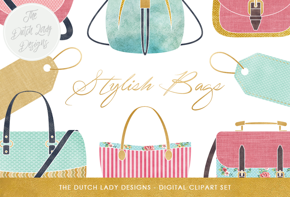 Print on Demand: Bag Collection Clipart Set - Fashion & Style - Shopping Bags - Label Clipart Graphic Illustrations By daphnepopuliers - Image 1