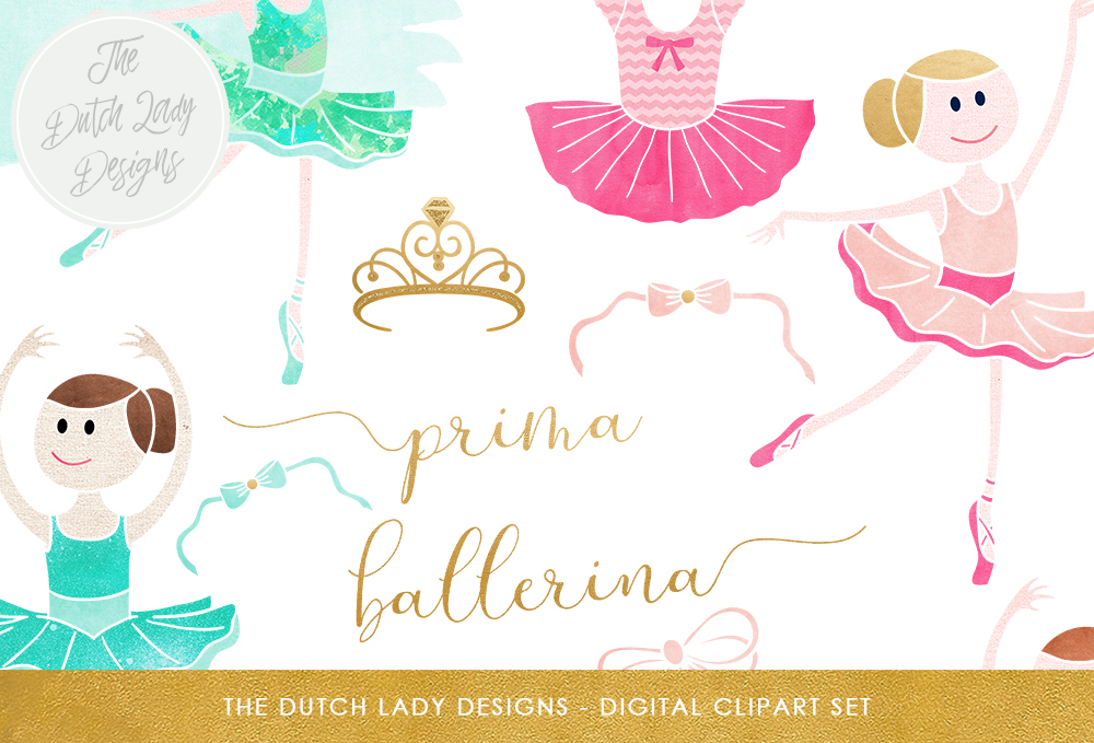 Print on Demand: Ballerina Clipart Set - Watercolor Ballet Images - Dancing Graphics - Kids Clipart - Pink & Aqua Graphic Illustrations By daphnepopuliers