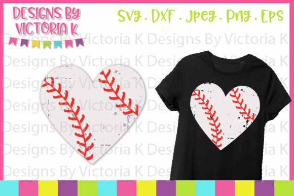 Baseball Heart - Grunge Effect SVG Graphic by Designs By ...